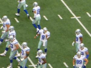 A picture of Tony Romo pre-snap I took from my seat inside AT&T Stadium.--December 2012